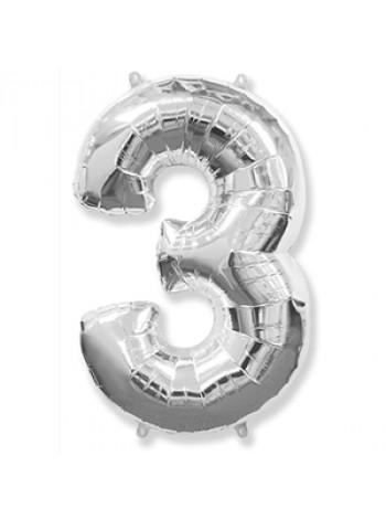Цифра 3 серебро