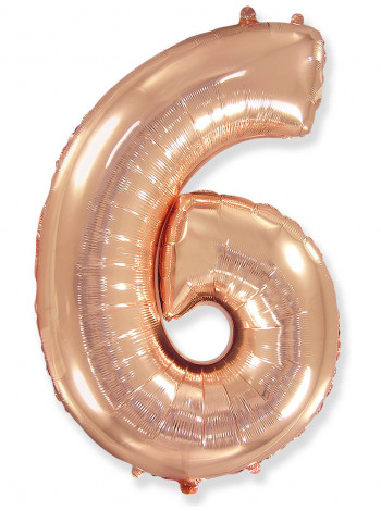 Цифра 6 розовое золото