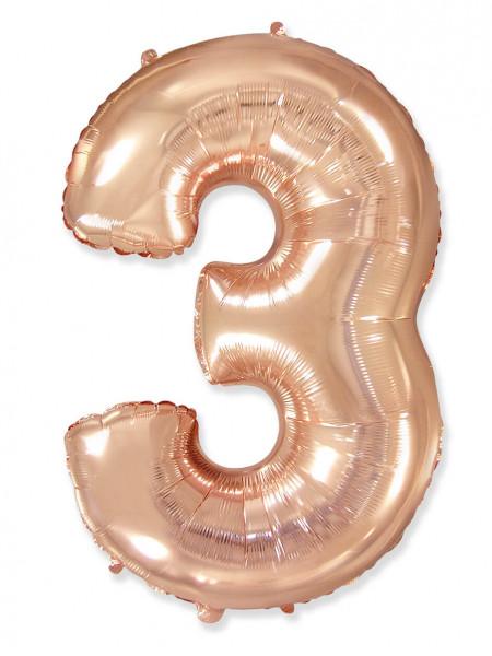 Цифра 3 розовое золото