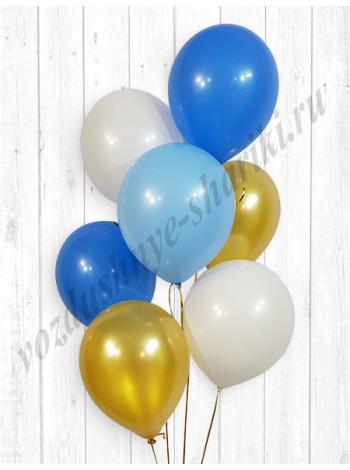 Воздушные шары белый-голубой-синий-золото