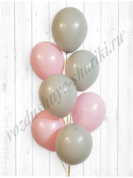 Воздушные шары розовый-серый