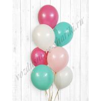 Воздушные шары белый-розовый-фукси-тиффани