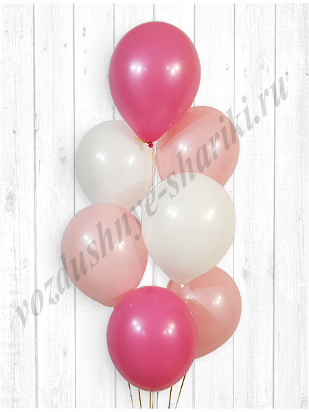 Воздушные шары белый-розовый-фукси