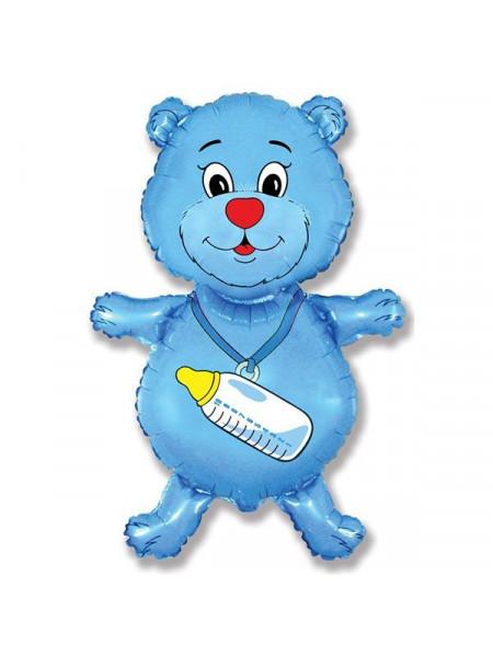 Фольгированная фигура Медвежонок голубой