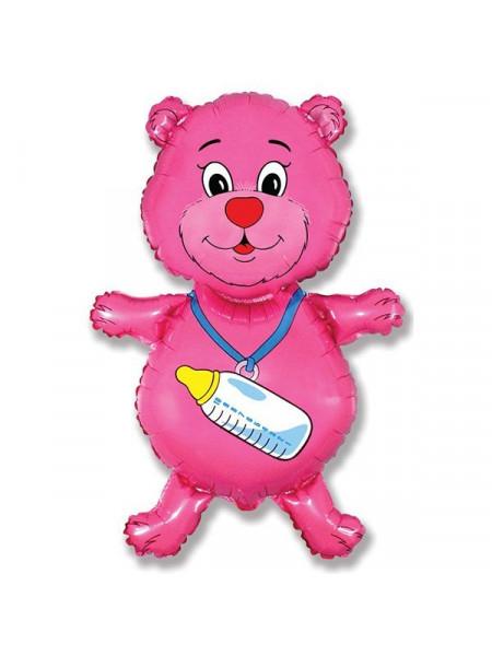 Фольгированная фигура Медвежонок розовый
