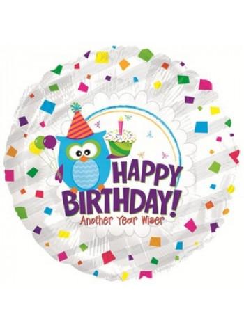 Фольгированный круг С Днем рождения мудрая сова