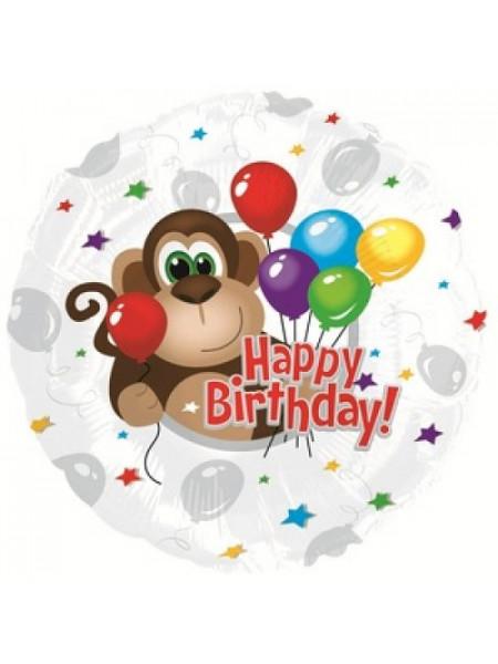 Фольгированный круг С Днем рождения обезьянка