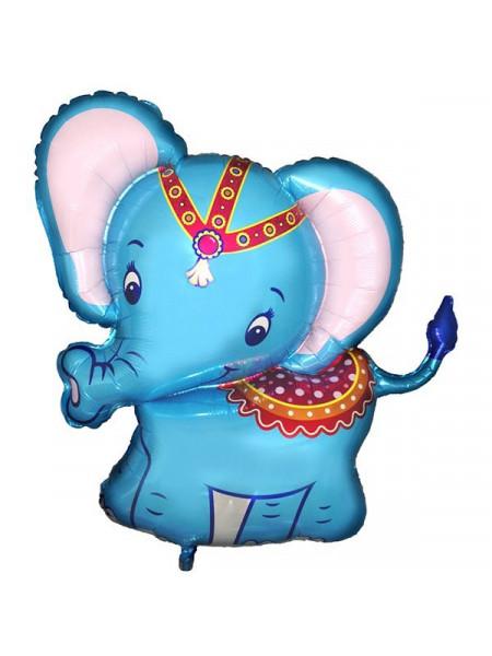 Фольгированная фигура слоненок голубой