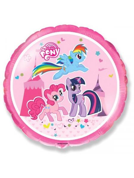 Фольгированный круг Цирковые пони