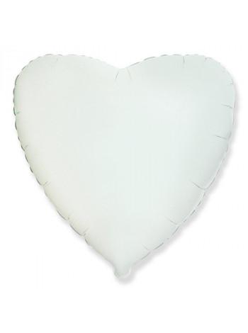 Фольгированное сердце белое