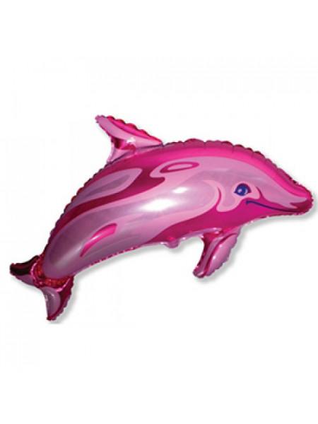 Фольгированная фигура Дельфин Розовый