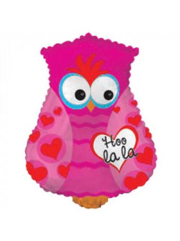 Фольгированная фигура Сова Розовая