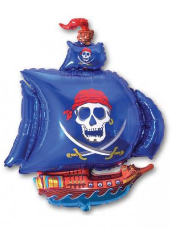 Фольгированная фигура Корабль пиратский синий