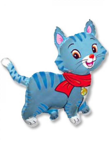 Фольгированная фигура Кошечка с шарфом голубая