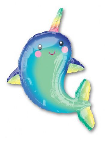 Фольгированная фигура Дельфин с рогом