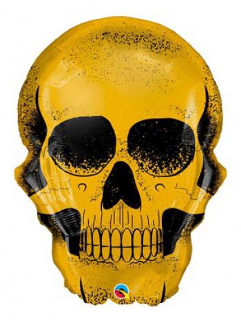 Фольгированная фигура Череп золотой