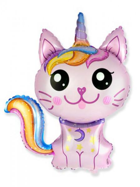Фольгированная фигура Кот-Единорог розовый