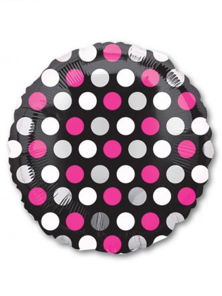 Фольгированный круг Горошек бело-розовый