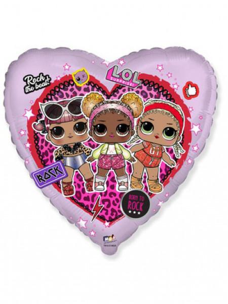 Фольгированное сердце Куклы ЛОЛ
