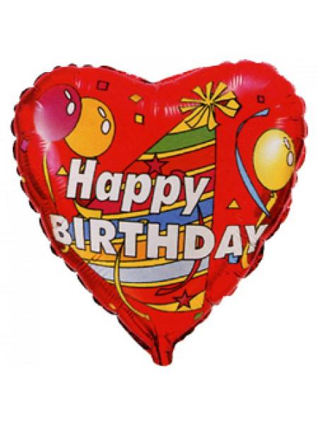 Фольгированное сердце С Днем рождения колпак и шары