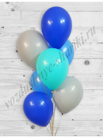 Воздушные шары серый-тиффани-голубой-синий
