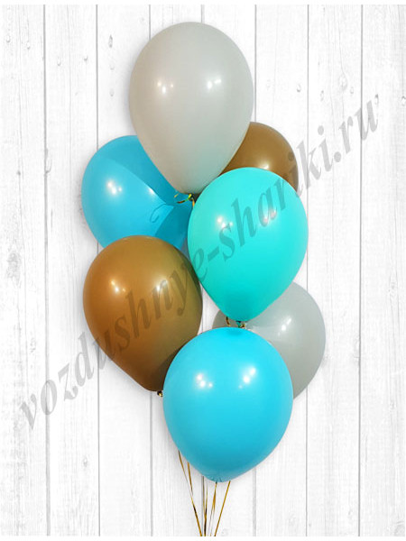 Воздушные шары серый-тиффани-бирюза-кофе