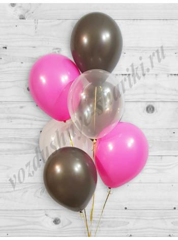 Воздушные шары прозрачный-фукси-шоколад