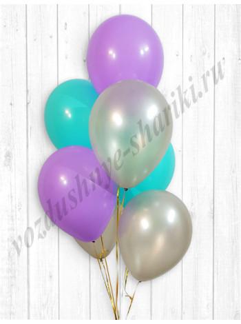 Воздушные шары серебро-тиффани-сиреневый