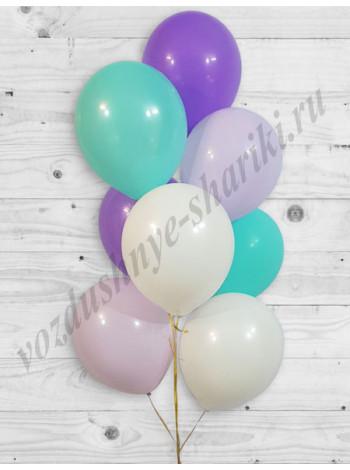 Воздушные шары белый-тиффани-сиреневый-фиолетовый