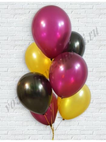 Воздушные шары золото-черный-бургундия металлик