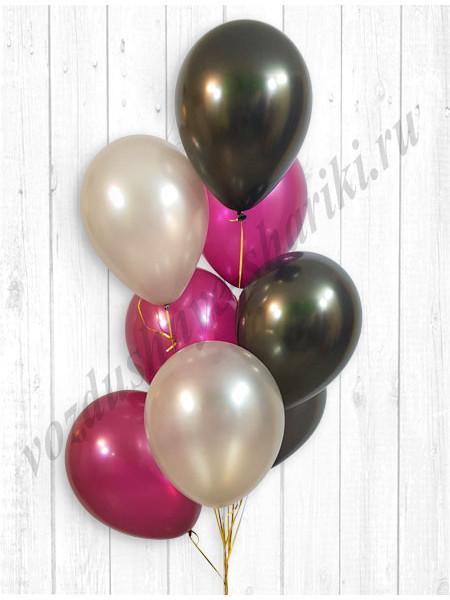 Воздушные шары серебро-черный-бургундия металлик