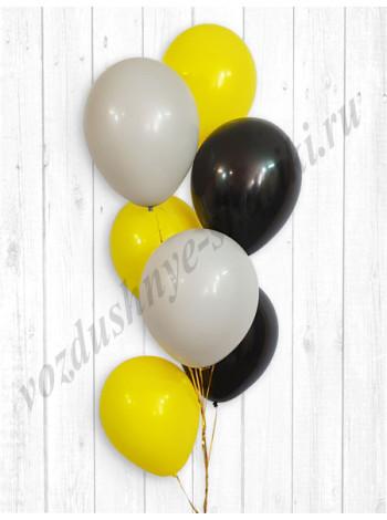 Воздушные шары серый-желтый-черный