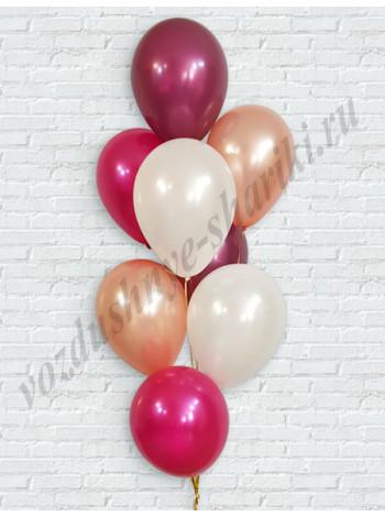 Воздушные шары фуше-розовое золото-перламутр-бургундия
