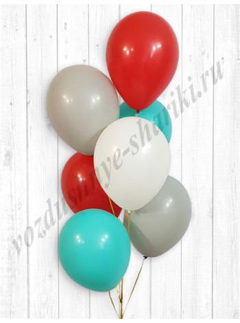 Воздушные шары красный-белый-серый-тиффани