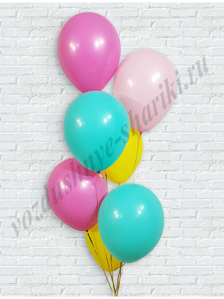 Воздушные шары желтый-розовый-тиффани-фуше