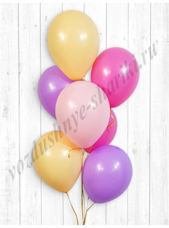 Воздушные шары розовый-персик-фуше-сиреневый