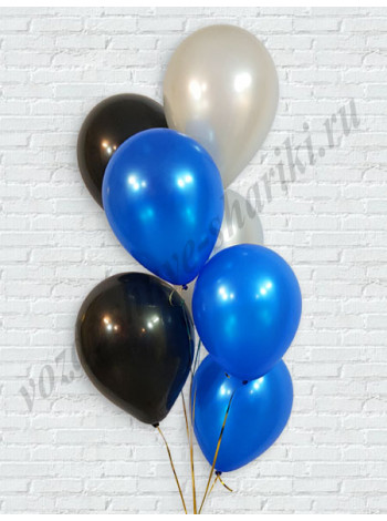 Воздушные шары серебро-синий-черный металлик