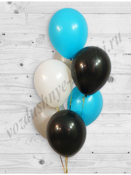 Воздушные шары белый-серый-черный-бирюза
