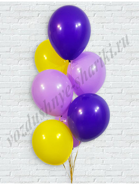 Воздушные шары фиолетовый-сиреневый-желтый