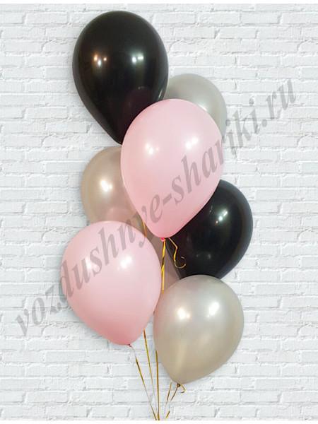 Воздушные шары розовый-черный-серебро