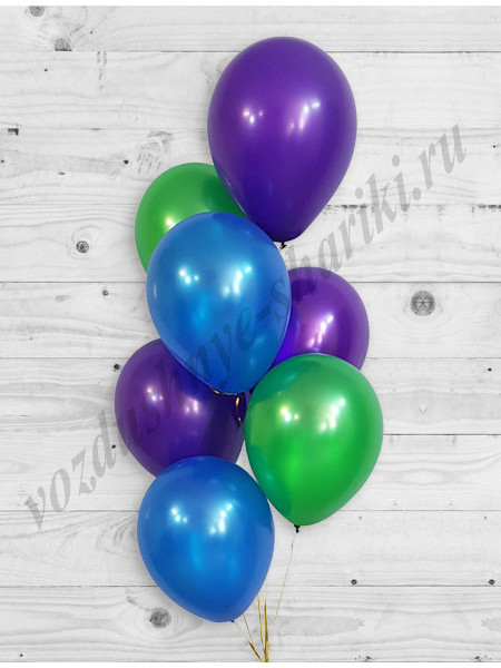 Воздушные шары синий-зеленый-фиолетовый металлик