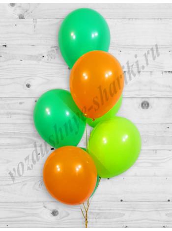 Воздушные шары зеленый-оранжевый-лайм